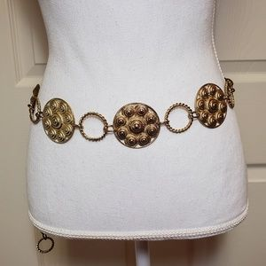 Vintage Glam Adjustable Gold Medallion Chain Belt
